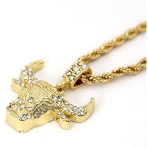 NEW 14K Gold Plated Bull Pendant Free Rope Chain